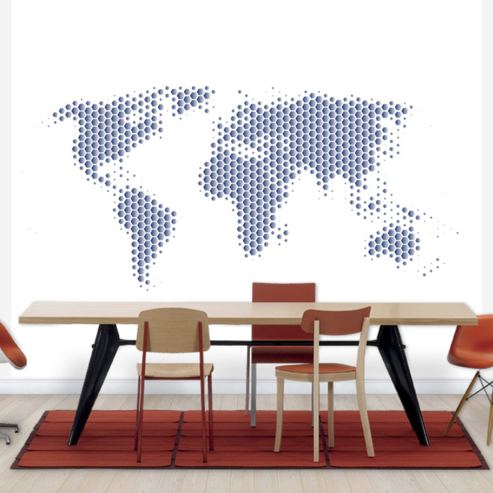 Fototapet World Map Metal Sheet- Steel  Personalizat  Photowall