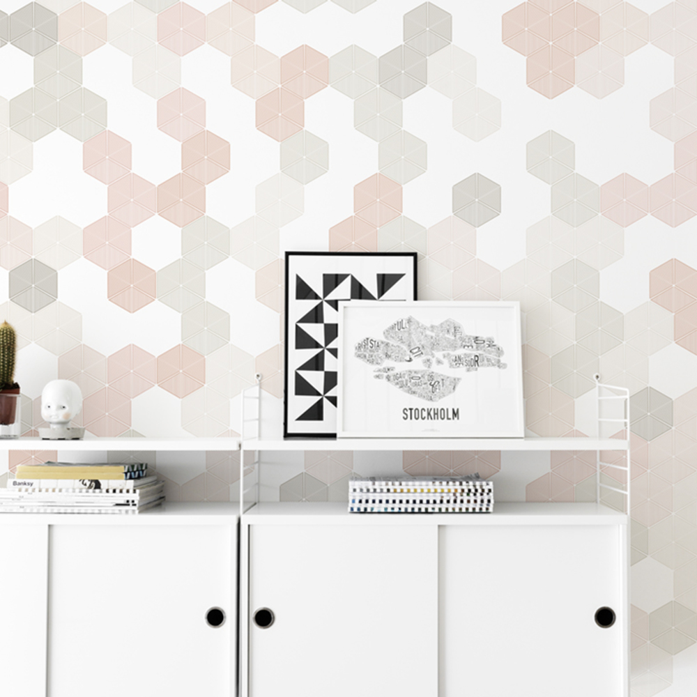 Fototapet Hexagon - Pink  Personalizat  Photowall