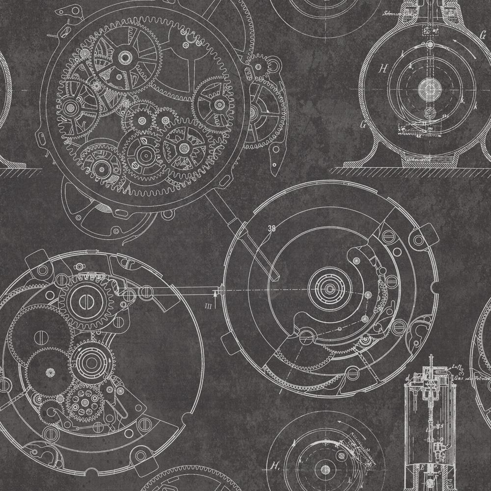 Tapet Designer The Scientist Horlogerie Anthracite