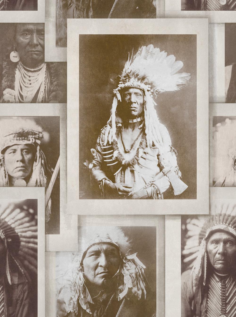 Tapet Designer Portraits Indian Heads Sepia Mindth